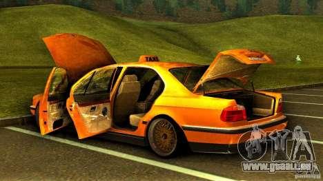 BMW 730i Taxi pour GTA San Andreas vue de dessus