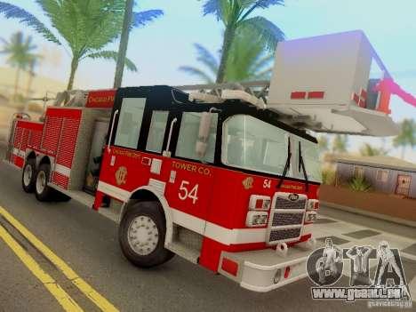 Pierce Tower Ladder 54 Chicago Fire Department für GTA San Andreas Rückansicht