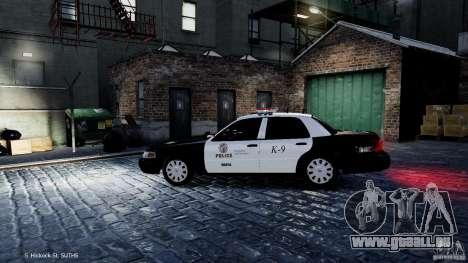 Ford Crown Victoria CVPI-K9 V6.9A-LAPD-ELS pour GTA 4 est une gauche