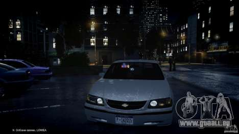 Chevrolet Impala Unmarked Police 2003 v1.0 [ELS] pour GTA 4 roues