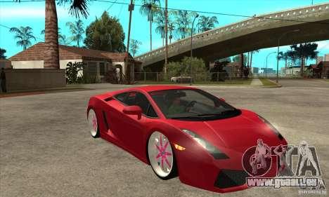Lamborghini Gallardo White & Pink für GTA San Andreas Rückansicht