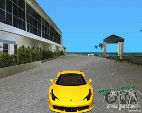Ferrari 458 Italia pour une vue GTA Vice City de la gauche