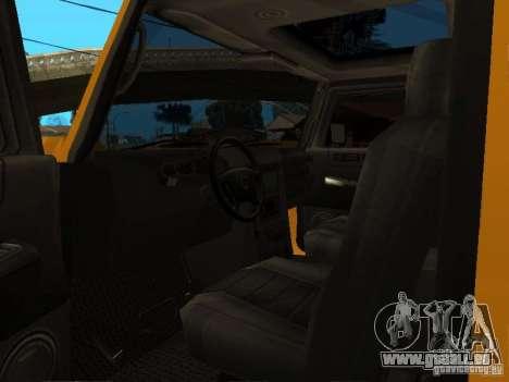 Hummer H2 4x4 diesel pour GTA San Andreas vue arrière