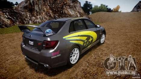 Subaru Impreza WRX STi 2011 Subaru World Rally pour GTA 4 Vue arrière de la gauche