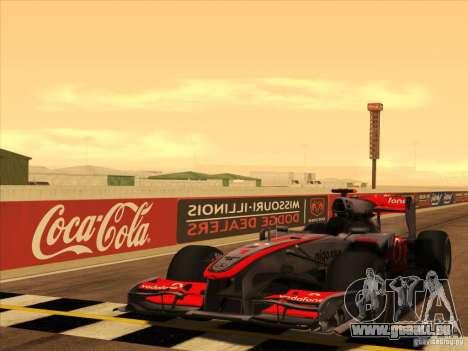 McLaren MP4-25 F1 pour GTA San Andreas vue de dessus