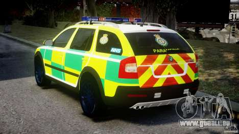 Skoda Octavia Scout Paramedic [ELS] pour GTA 4 Vue arrière de la gauche