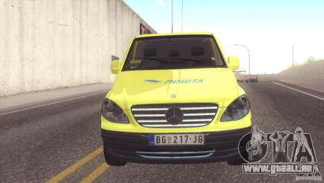 Mercedes Benz Vito Pošta Srbije pour GTA San Andreas sur la vue arrière gauche