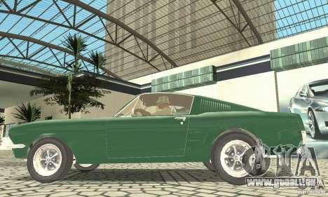 Ford Mustang Fastback 1967 pour GTA San Andreas sur la vue arrière gauche
