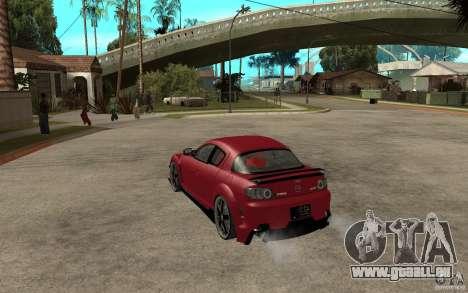Mazda RX-8 Time Attack JDM pour GTA San Andreas sur la vue arrière gauche