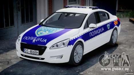 Peugeot 508 Macedonian Police [ELS] für GTA 4 Rückansicht