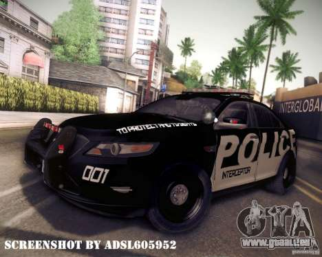 Ford Taurus Police Interceptor 2011 für GTA San Andreas zurück linke Ansicht