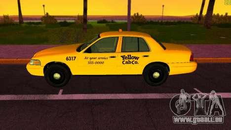 Ford Crown Victoria Taxi 2003 pour GTA Vice City sur la vue arrière gauche