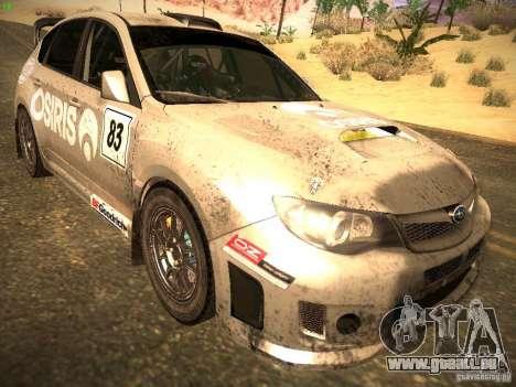 Subaru Impreza Gravel Rally pour GTA San Andreas sur la vue arrière gauche