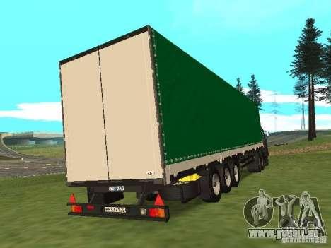 Nefaz 93344 vert pour GTA San Andreas sur la vue arrière gauche