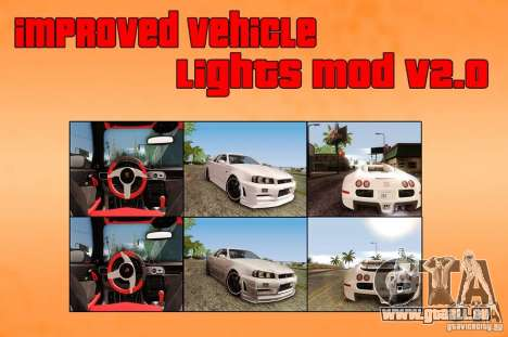 Improved Vehicle Lights Mod v2.0 für GTA San Andreas