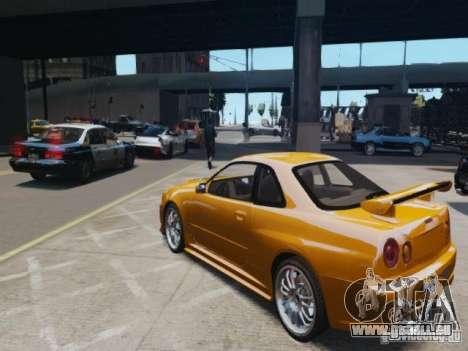 Nissan Skyline GT-R R34 Fast and Furious 4 für GTA 4 hinten links Ansicht