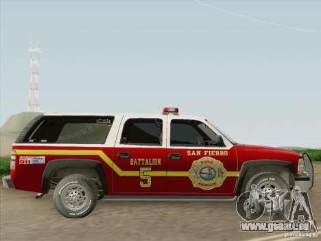 Chevrolet Suburban SFFD für GTA San Andreas Rückansicht