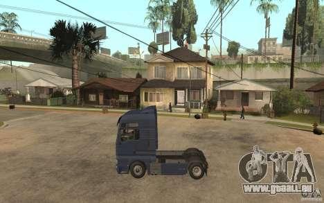MAN TGX V8 pour GTA San Andreas laissé vue