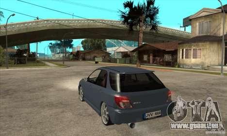 Subaru Impreza Universal pour GTA San Andreas sur la vue arrière gauche