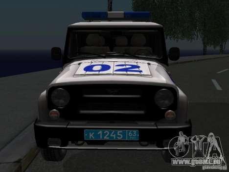 UAZ-315195 Hunter Police pour GTA San Andreas vue arrière
