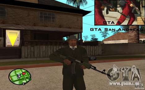AK-47 avec un silencieux de GTA 5 (Final) pour GTA San Andreas troisième écran