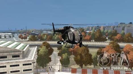 AH-6 LittleBird Helicopter pour GTA 4 Vue arrière