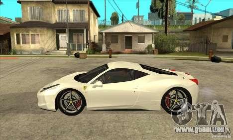 Ferrari 458 Italia 2010 v2.0 pour GTA San Andreas laissé vue