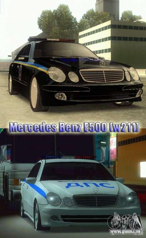 MERCEDES BENZ E500 w211 SE Polizei Ukraine für GTA San Andreas zurück linke Ansicht