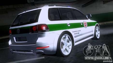 Volkswagen Touareg Policija für GTA San Andreas zurück linke Ansicht