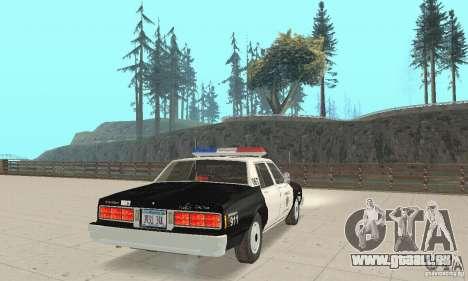 Chevrolet Caprice Interceptor 1986 Police für GTA San Andreas zurück linke Ansicht