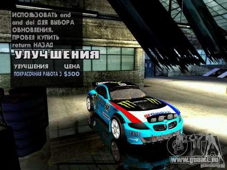 BMW Z4 Rally Cross pour GTA San Andreas vue de dessous