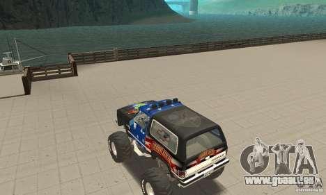 Chevrolet Blazer K5 Monster Skin 3 pour GTA San Andreas sur la vue arrière gauche