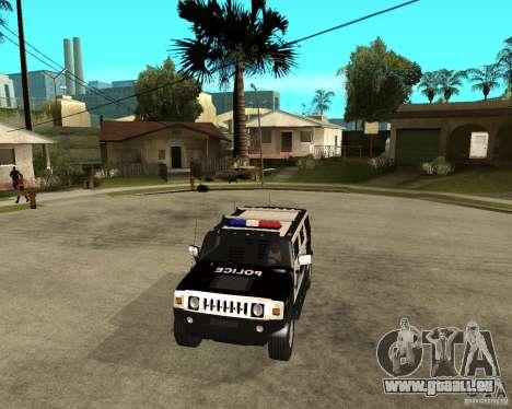 AMG H2 HUMMER SUV SAPD Police pour GTA San Andreas vue intérieure