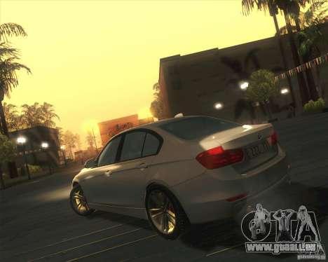 BMW 3 Series F30 2012 pour GTA San Andreas sur la vue arrière gauche
