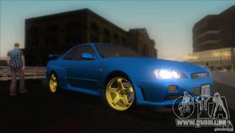Nissan Skyline GTR-34 pour GTA San Andreas vue intérieure
