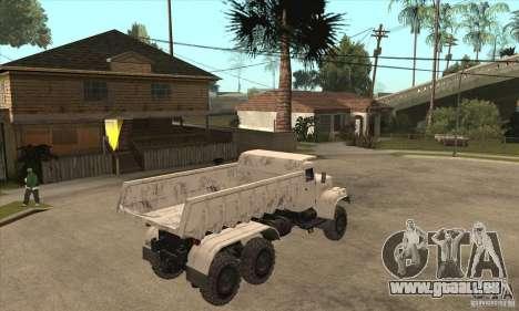 Camion à benne basculante KRAZ 225 pour GTA San Andreas vue arrière