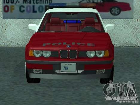 BMW 535i E34 Police pour GTA San Andreas laissé vue
