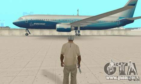 Boeing 737-800 pour GTA San Andreas sur la vue arrière gauche