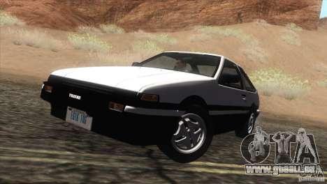Toyota Sprinter Trueno AE86 GT-Apex pour GTA San Andreas sur la vue arrière gauche