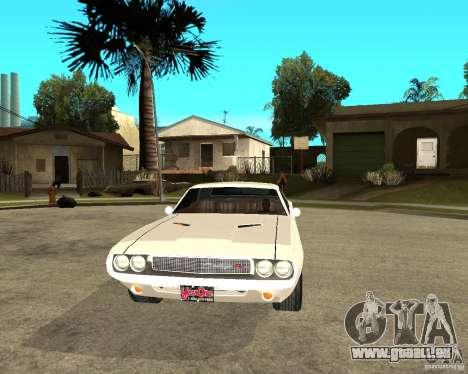 Dodge Challenger R/T Hemi 70 pour GTA San Andreas vue arrière