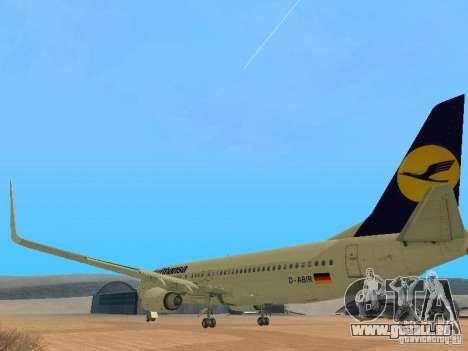 Boeing 737-800 Lufthansa für GTA San Andreas zurück linke Ansicht