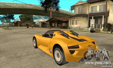 Porsche 918 Spyder für GTA San Andreas zurück linke Ansicht
