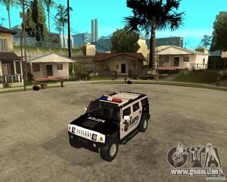 AMG H2 HUMMER SUV SAPD Police pour GTA San Andreas laissé vue