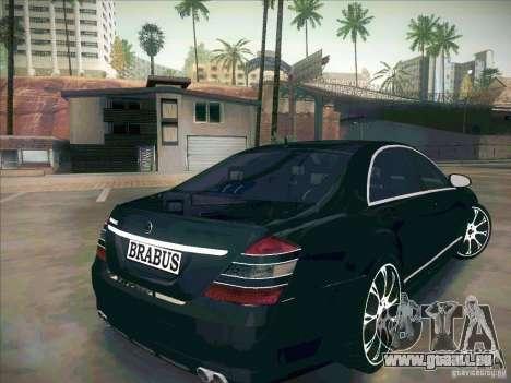 Mercedes-Benz S 500 Brabus Tuning pour GTA San Andreas sur la vue arrière gauche