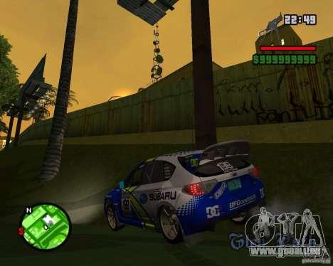 DiRT 2 Subaru Impreza WRX STi pour GTA San Andreas sur la vue arrière gauche