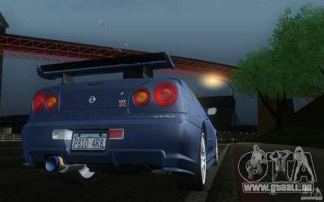 Nissan Skyline GT-R R34 M-spec Nur für GTA San Andreas rechten Ansicht
