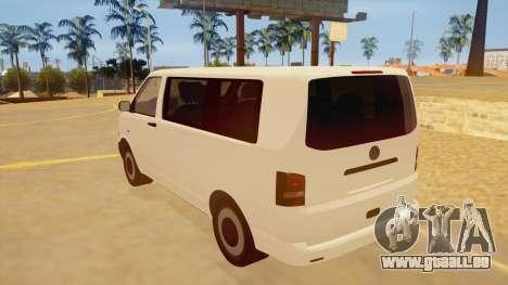 Volkswagen Transporter T5 Facelift 2011 für GTA San Andreas zurück linke Ansicht