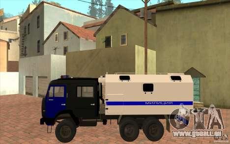 KAMAZ Police pour GTA San Andreas sur la vue arrière gauche