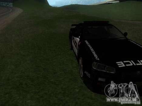 Nissan Skyline R34 Police pour GTA San Andreas vue arrière