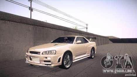 Nissan Skyline R34 pour GTA San Andreas vue de dessous